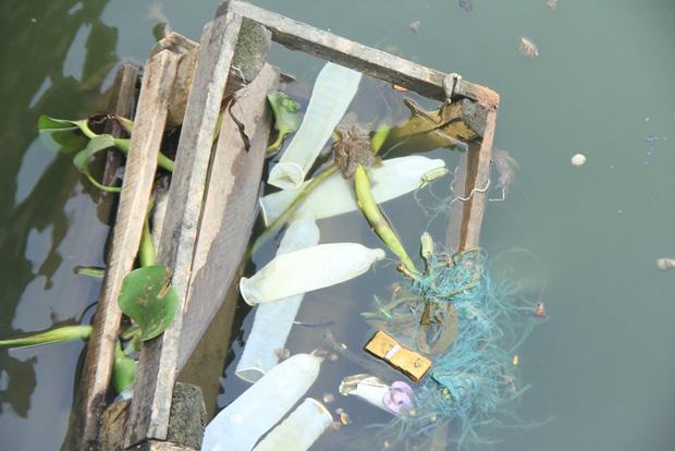 Hà Nội: Bao cao su nổi trắng một góc hồ Tây, người dân chèo thuyền ra vớt - Ảnh 5.