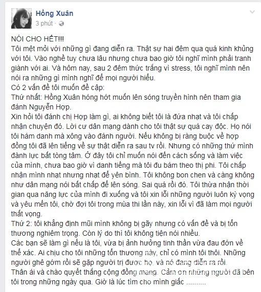 Hồng Xuân lên tiếng về vụ chấn thương mũi sau ẩu đả tại Vietnams Next Top Model - Ảnh 2.