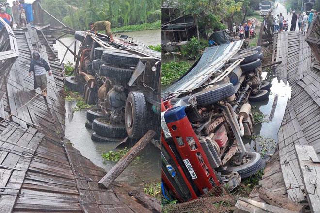 Vượt quá tải trọng 16 tấn, tài xế liều lĩnh chạy qua khiến cầu sập, xe rớt xuống sông - Ảnh 1.