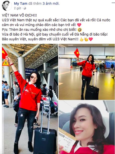 Mỹ Tâm đánh tiếng tới các cầu thủ U23 Việt Nam: Thèm ăn rau muống xào nhớ cho chị biết! - Ảnh 1.
