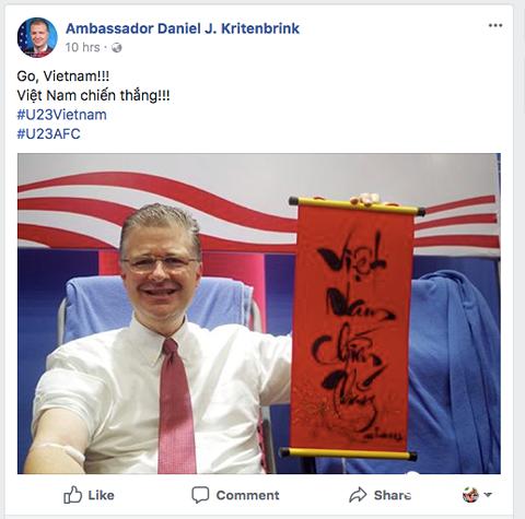 Tổng thống Hàn Quốc, đại sứ Mỹ đồng loạt viết Facebook khen ngợi U23 Việt Nam - Ảnh 3.