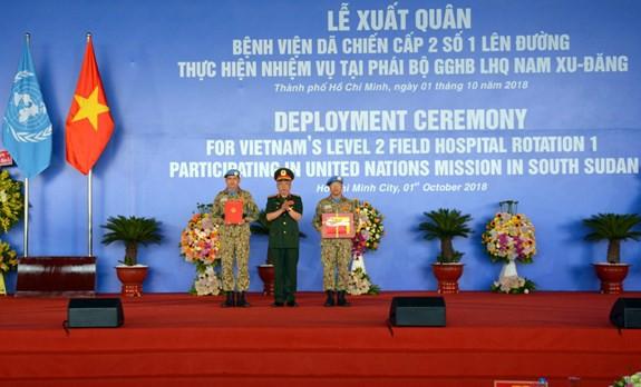 Bệnh viện dã chiến cấp 2 số 1 Việt Nam xuất quân thực hiện nhiệm vụ tại Phái bộ Gìn giữ hòa bình Liên hợp quốc Nam Sudan - ảnh 2
