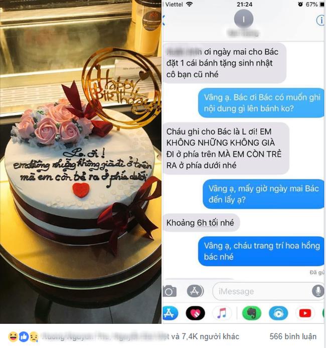 Chiếc bánh mừng sinh nhật chị L. trân trọng ghi dòng chữ khiến ai nấy bốc khói, chủ nhân không biết nên khóc hay cười - ảnh 1