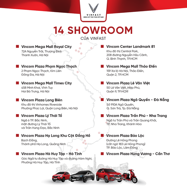 VinFast công bố 14 showroom tại 9 tỉnh, thành lớn: Đặt trong trung tâm thương mại và rộng tới 300 m2  - Ảnh 1.
