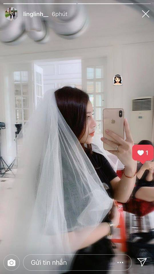 Bạn gái Tiến Dũng đăng ảnh đội khăn voan trắng như cô dâu, dân tình đồng loạt gọi tên Đình Trọng - Ảnh 1.