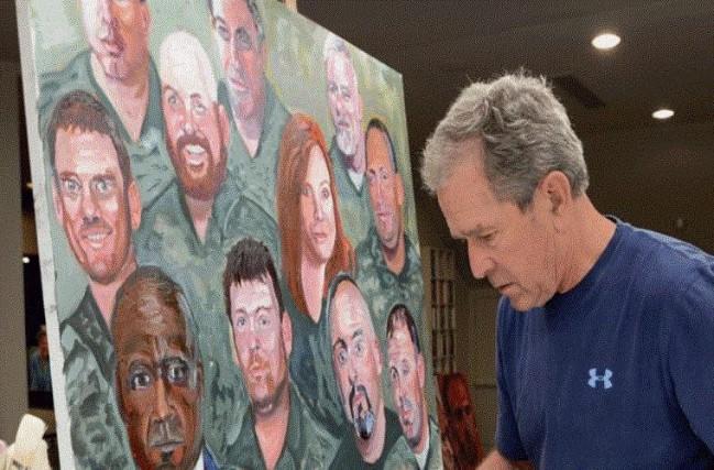 Cựu Tổng thống Bush con vĩnh biệt người cha bằng bức họa chân dung Bush cha - Ảnh 2.