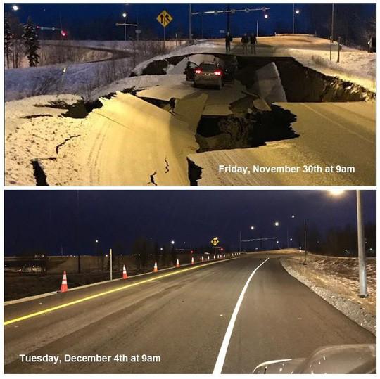Mỹ: Đường sập tan nát do động đất, lấp lại như mới trong 4 ngày - Ảnh 4.