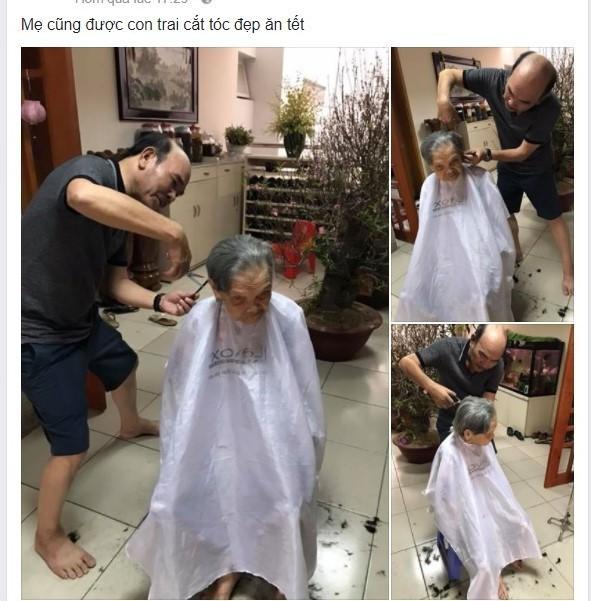 Xúc động hình ảnh người con cắt tóc cho mẹ già 95 tuổi ngày Tết - Ảnh 1.