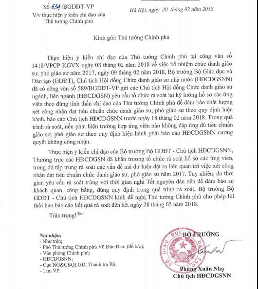 Bộ GD - ĐT xin Thủ tướng lùi thời hạn báo cáo rà soát công nhận giáo sư, phó giáo sư - Ảnh 1.