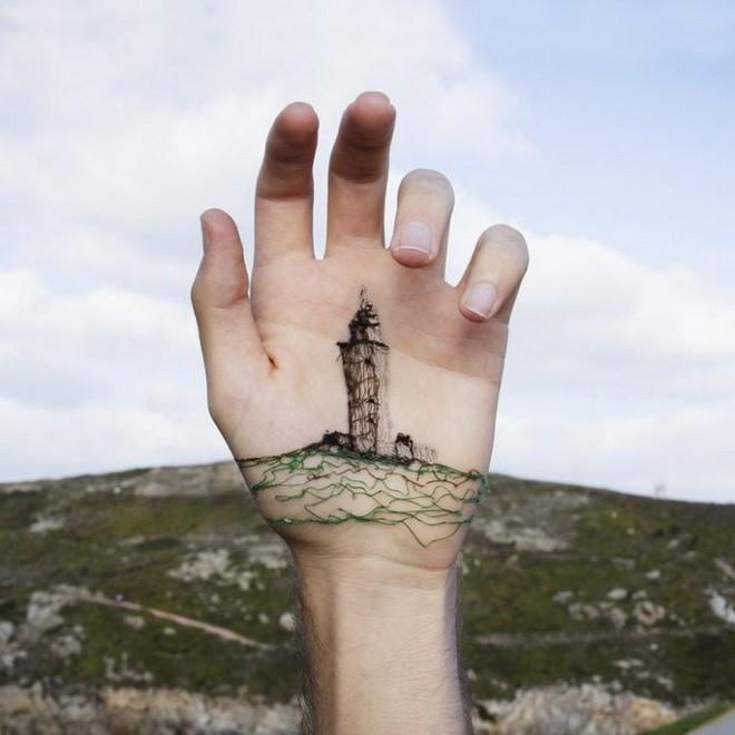 Xuyên chỉ lên chính da tay để tạo nên những bức hình nghệ thuật ám ảnh người xem - Ảnh 6.