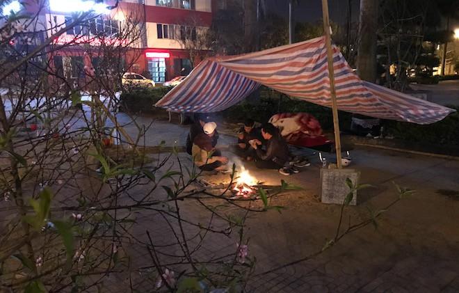 Trắng đêm ngồi co ro đốt củi sưởi ấm để canh đào, quất, hoa Tết 4