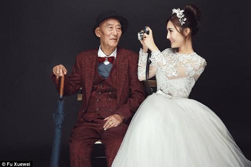 Bộ ảnh cưới của cô gái trẻ và cụ ông 87 tuổi khiến dân mạng xôn xao - ảnh 1