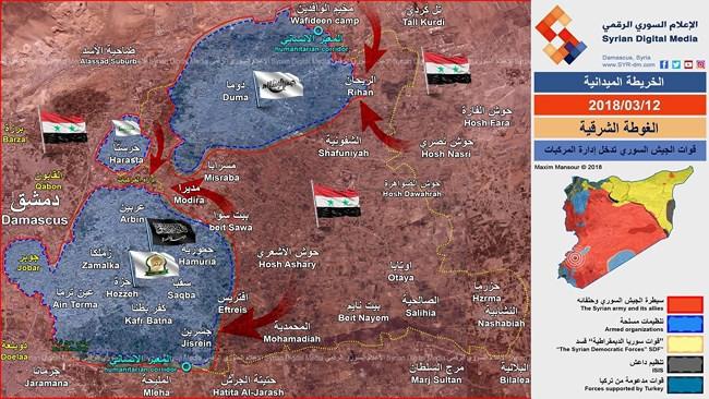 """""""Quả đấm thép"""" Syria cắt Đông Ghouta thành 3 """"nồi hầm"""", hệ thống phòng ngự thánh chiến sụp đổ - ảnh 1"""