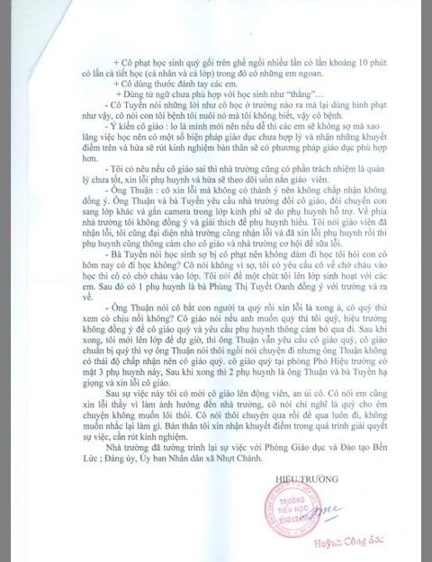 Tiết lộ bản tường trình của hiệu trưởng vụ cô giáo bị phụ huynh bắt quỳ 40 phút 1
