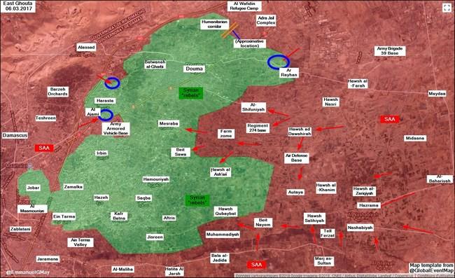 Quân đội Syria đột kích lá chắn thép của phiến quân tại sào huyệt Đông Ghouta - Ảnh 1.
