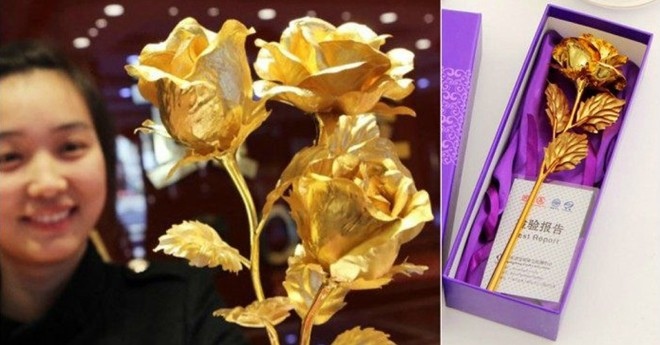 Cận cảnh hoa hồng dát vàng cho ngày 8-3 ở Trung Quốc  - Ảnh 5.
