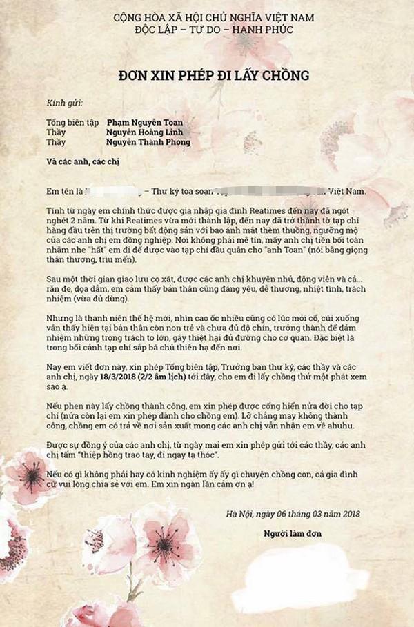 Cô gái bá đạo viết đơn xin phép đi lấy chồng gửi sếp - Ảnh 1.