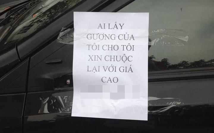 Mất gương xe, chủ ô tô viết thông báo