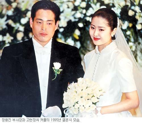 Ảnh chụp trong đám cưới vội vàng của Go Hyun Jung và Chung Yong Jin.
