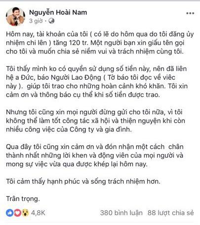 Sau khi giúp tài xế xe tải, doanh nhân Hoài Nam chia sẻ việc người giấu tên gửi 120 triệu - Ảnh 1.