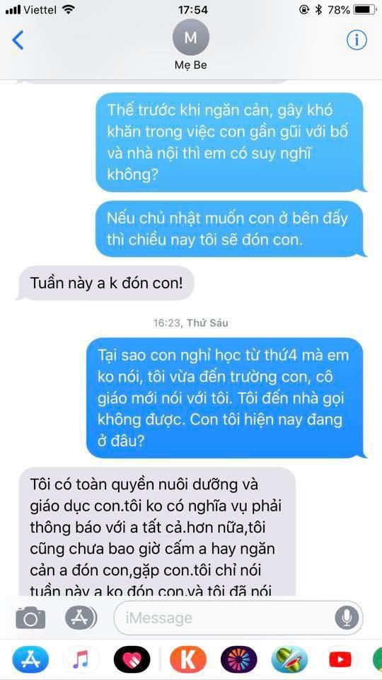 Chí Nhân tung đoạn tin nhắn với vợ cũ sau ồn ào bị ngăn cấm không cho gặp con - Ảnh 1.