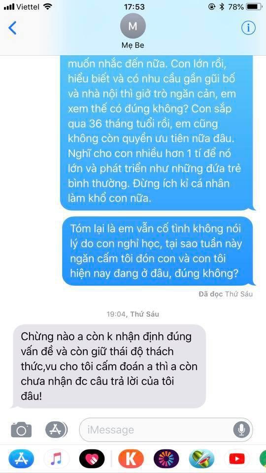 Chí Nhân tung đoạn tin nhắn với vợ cũ sau ồn ào bị ngăn cấm không cho gặp con - Ảnh 2.
