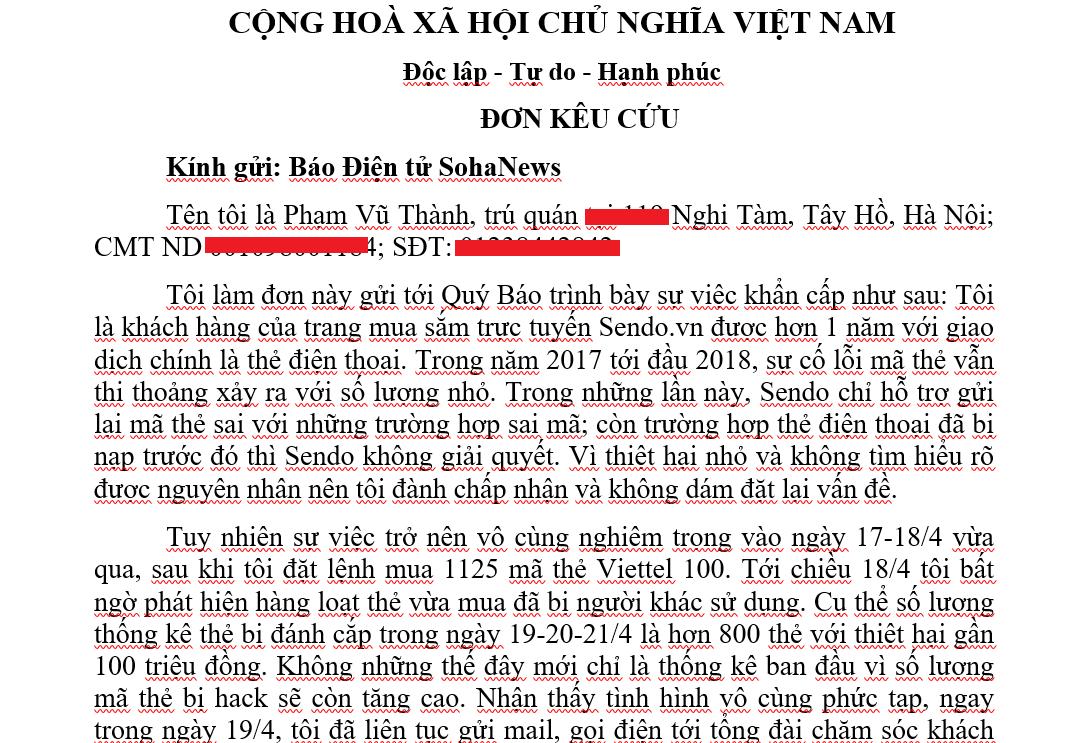 Khách kêu cứu vì bị Sendo.vn bán thẻ nạp điện thoại đã qua sử