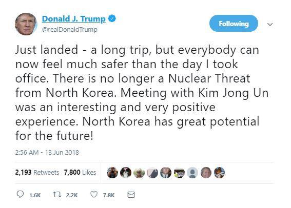Tổng thống Trump: Triều Tiên không còn là mối đe dọa hạt nhân nguy hiểm nữa - Ảnh 1.