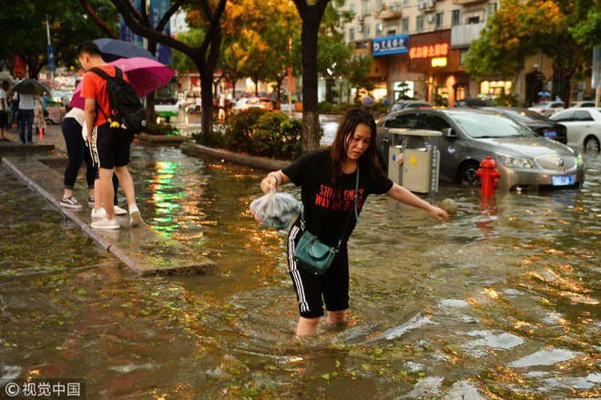 Trung Quốc: Bão lớn khiến hải sản tươi sống trút xuống như mưa trên đường phố - Ảnh 4.