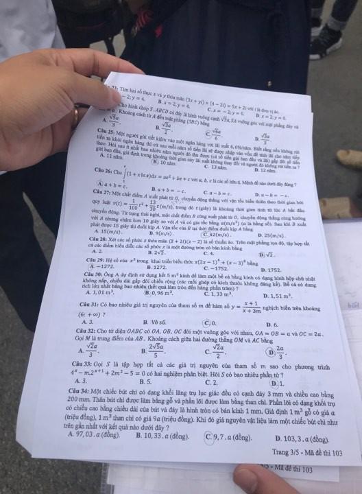 [CẬP NHẬT] Gợi ý đáp án đề thi môn Toán kỳ thi THPT Quốc gia 2018 - Ảnh 14.