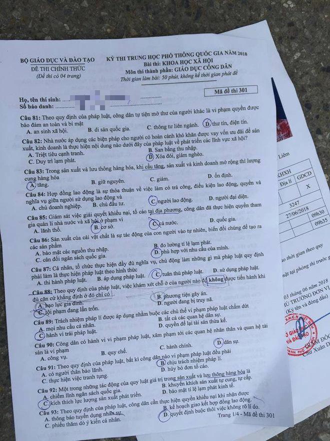 [CẬP NHẬT] Gợi ý đáp án các mã đề thi môn Giáo dục công dân kỳ thi THPT Quốc gia 2018 - Ảnh 3.