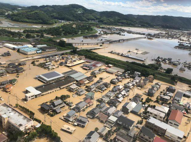 Chú ngựa đi lạc lên... mái nhà sau trận lũ quét ở Nhật Bản - Ảnh 3.