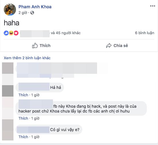 Phạm Anh Khoa bất ngờ trở lại sau scandal, đăng status khó hiểu trên facebook - ảnh 1