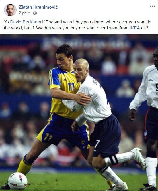 Ibrahimovic gạ cá cược trận Anh vs Thụy Điển, Beckham đáp trả hài hước - Ảnh 1.