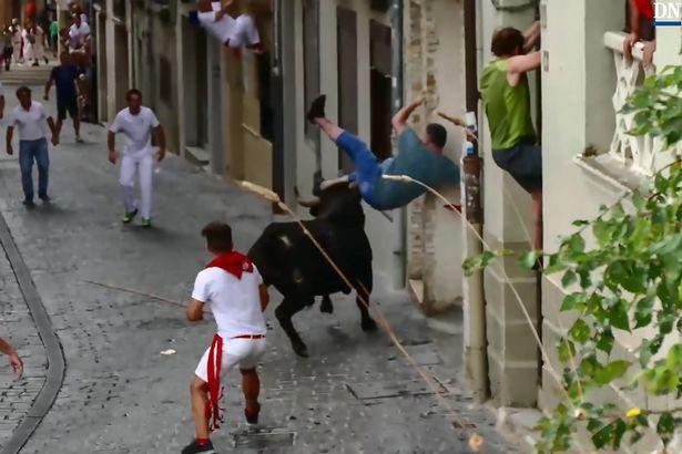 Bò tót điên cuồng tấn công, hất tung người đàn ông - Ảnh 2.