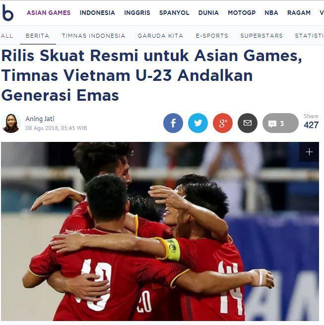 Báo Indonesia: Việt Nam mang thế hệ vàng dự ASIAD - Ảnh 1.