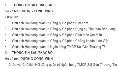 Ông Dương Công Minh chính thức từ chức Chủ tịch HĐQT tại 4 công ty để tập trung cho Sacombank  - Ảnh 1.