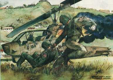Hình vẽ minh họa trực thăng AH-1T Sea Cobra của Mỹ bị bắn hạ trong cuộc chiến này. Nguồn: combatreform