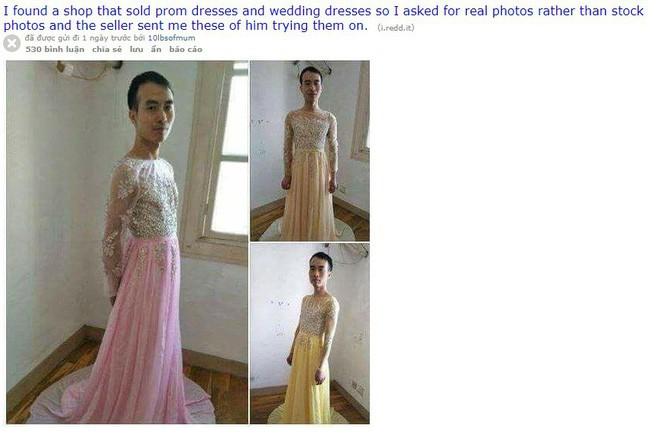 Khách đòi xem ảnh thật sản phẩm, nam chủ shop online chơi trội tự mặc đầm cánh cụp cánh xòe, chụp gửi khách luôn - Ảnh 1.