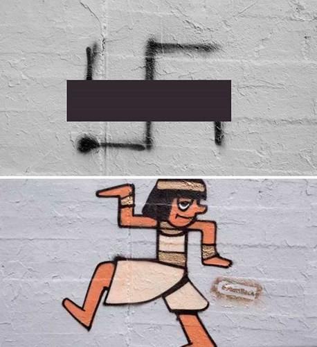 Ảnh: Biến biểu tượng phát xít Đức thành hình vẽ hài hước và sáng tạo - Ảnh 1.