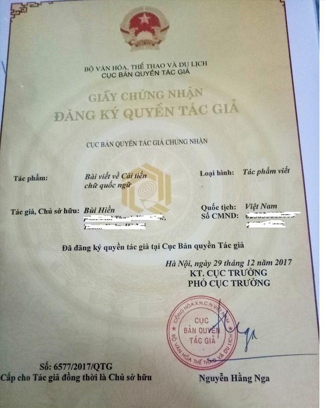 Đề xuất cải tiến chữ viết của PGS Bùi Hiền đã được cấp giấy chứng nhận bản quyền - Ảnh 1.