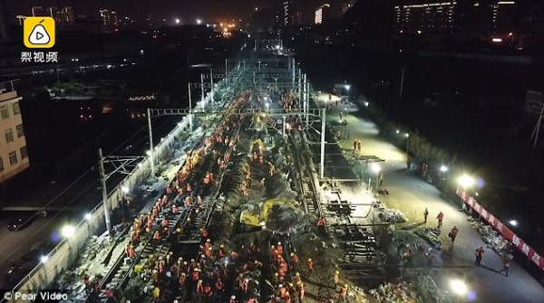 Chóng mặt: Công nhân Trung Quốc xây đường sắt mới chỉ trong 9 tiếng - Ảnh 1.