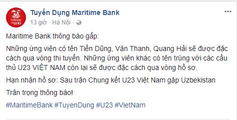 Maritime Bank chơi trội đặc cách tuyển dụng cho ứng viên trùng tên với cầu thủ đội tuyển U23 Việt Nam  - Ảnh 1.