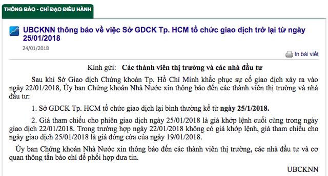 Ủy ban Chứng khoán thông báo HoSE sẽ giao dịch trở lại từ ngày 25/1  - Ảnh 1.