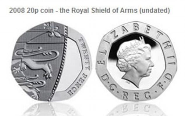 Một số trong 136 triệu đồng 20 pence được in trong năm 2008 và 2009 bị lỗi không có ngày in. (Ảnh: dailymail)