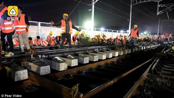 Chóng mặt: Công nhân Trung Quốc xây đường sắt mới chỉ trong 9 tiếng - Ảnh 3.