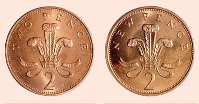 Lỗi kỹ thuật đã phát sinh vào năm 1983 khiến một số đồng 2 pence có in chữ