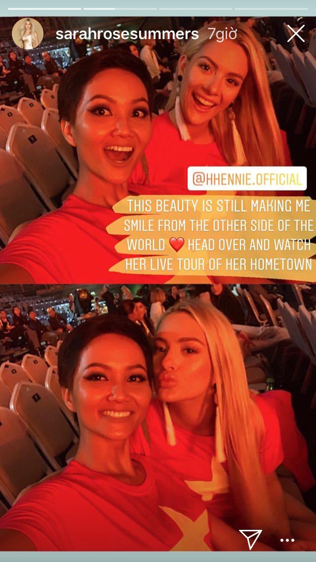 Hoa hậu Mỹ bất ngờ đăng ảnh diện áo cờ đỏ sao vàng, khen ngợi H'Hen Niê sau ồn ào chê bai trình độ tiếng Anh tại Miss Universe 2018 - Ảnh 1.