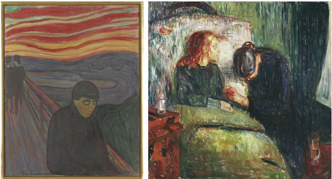 Hai tác phẩm khác của Munch đều mang màu sắc u ám, đau buồn.