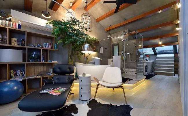 Căn phòng với nhiều chức năng khác nhau, được sắp xếp một cách khéo léo, gọn gàng, tiện ích.